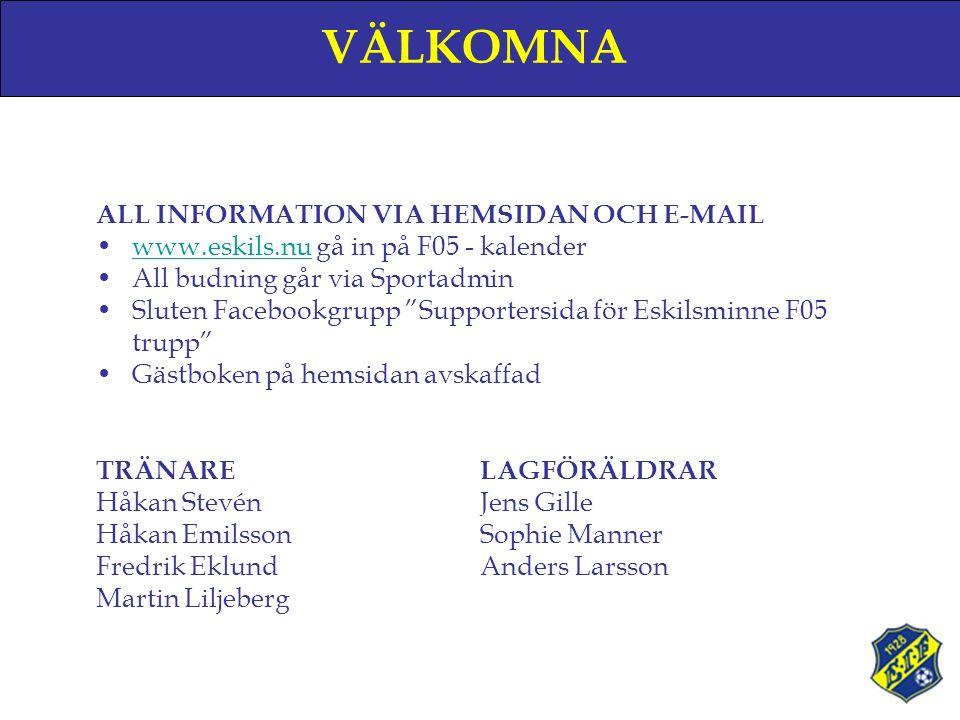 VÄLKOMNA ALL INFORMATION VIA HEMSIDAN OCH E-MAIL www.eskils.nu gå in på F05 - kalenderwww.eskils.nu All budning går via Sportadmin Sluten Facebookgrupp Supportersida för Eskilsminne F05 trupp Gästboken på hemsidan avskaffad TRÄNARELAGFÖRÄLDRAR Håkan StevénJens Gille Håkan EmilssonSophie Manner Fredrik EklundAnders Larsson Martin Liljeberg