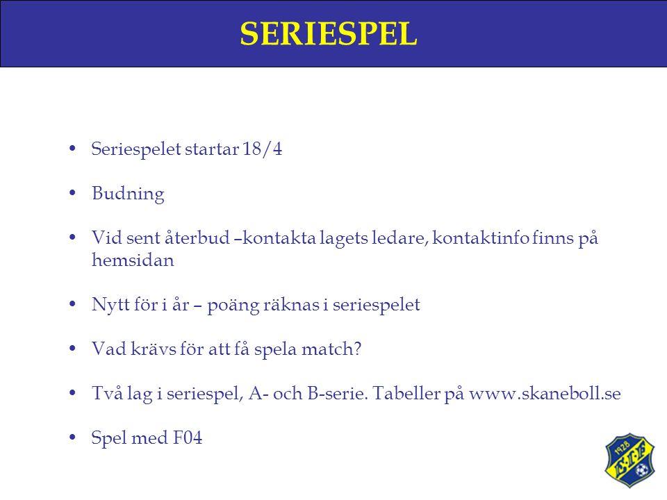 SERIESPEL Seriespelet startar 18/4 Budning Vid sent återbud –kontakta lagets ledare, kontaktinfo finns på hemsidan Nytt för i år – poäng räknas i seriespelet Vad krävs för att få spela match.