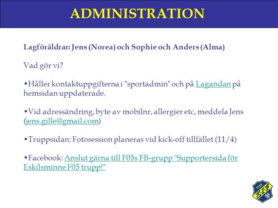 ADMINISTRATION Lagföräldrar: Jens (Norea) och Sophie och Anders (Alma) Vad gör vi.