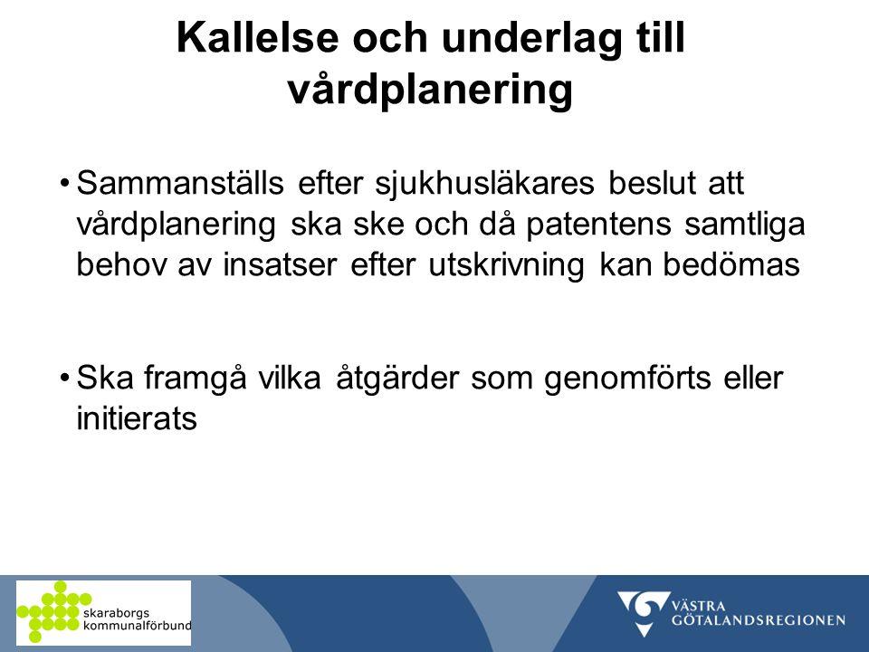 Kallelse och underlag till vårdplanering Sammanställs efter sjukhusläkares beslut att vårdplanering ska ske och då patentens samtliga behov av insatser efter utskrivning kan bedömas Ska framgå vilka åtgärder som genomförts eller initierats