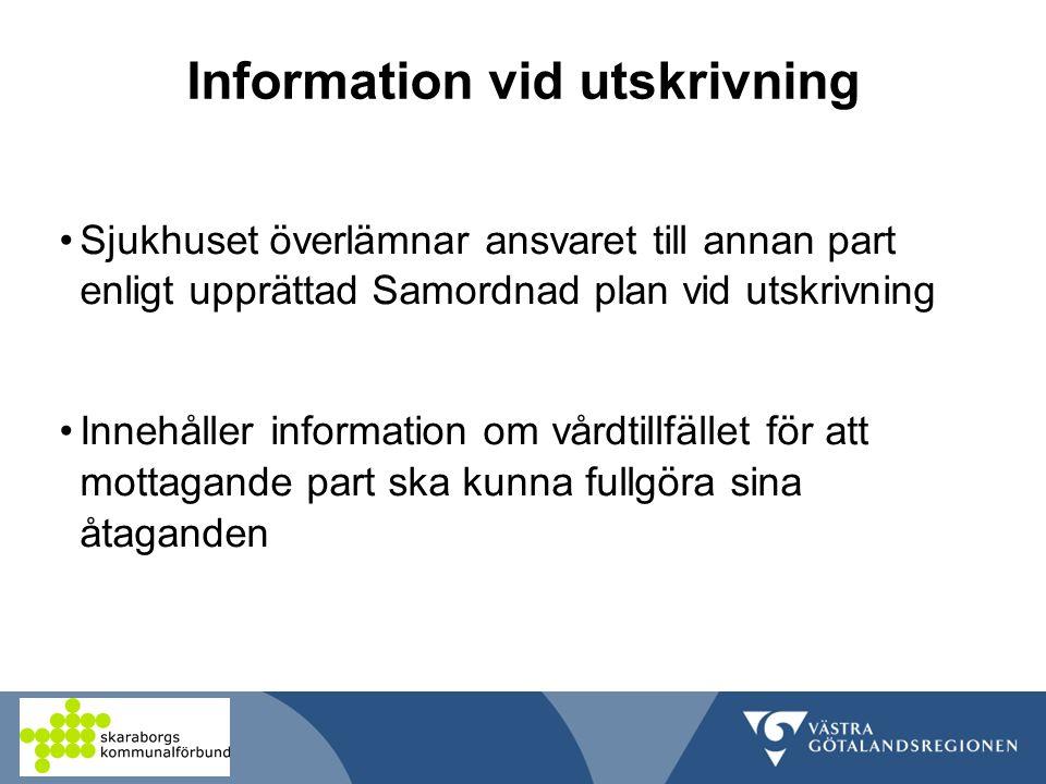 Information vid utskrivning Sjukhuset överlämnar ansvaret till annan part enligt upprättad Samordnad plan vid utskrivning Innehåller information om vårdtillfället för att mottagande part ska kunna fullgöra sina åtaganden
