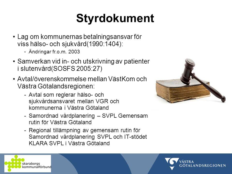 Styrdokument Lag om kommunernas betalningsansvar för viss hälso- och sjukvård(1990:1404): -Ändringar fr.o.m.
