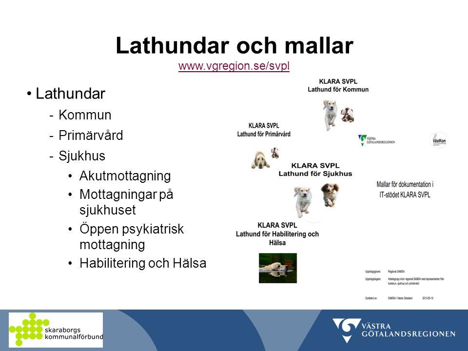 Lathundar och mallar www.vgregion.se/svpl www.vgregion.se/svpl Lathundar -Kommun -Primärvård -Sjukhus Akutmottagning Mottagningar på sjukhuset Öppen psykiatrisk mottagning Habilitering och Hälsa