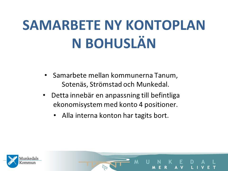 SAMARBETE NY KONTOPLAN N BOHUSLÄN Samarbete mellan kommunerna Tanum, Sotenäs, Strömstad och Munkedal. Detta innebär en anpassning till befintliga ekon