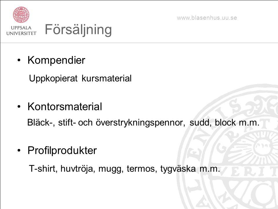 Försäljning Kompendier Uppkopierat kursmaterial Kontorsmaterial Bläck-, stift- och överstrykningspennor, sudd, block m.m.