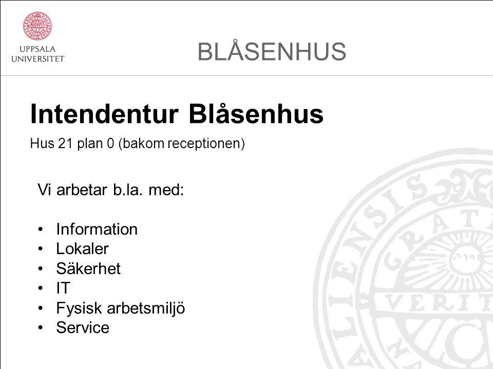 Intendentur Blåsenhus Hus 21 plan 0 (bakom receptionen) BLÅSENHUS Vi arbetar b.la.