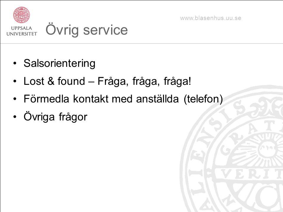 Övrig service Salsorientering Lost & found – Fråga, fråga, fråga.