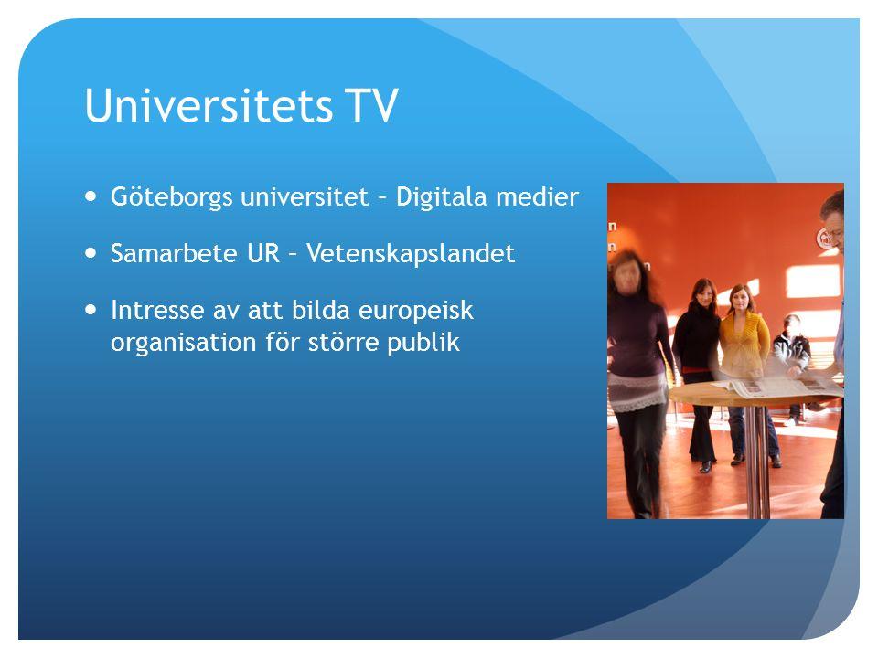 Universitets TV Göteborgs universitet – Digitala medier Samarbete UR – Vetenskapslandet Intresse av att bilda europeisk organisation för större publik