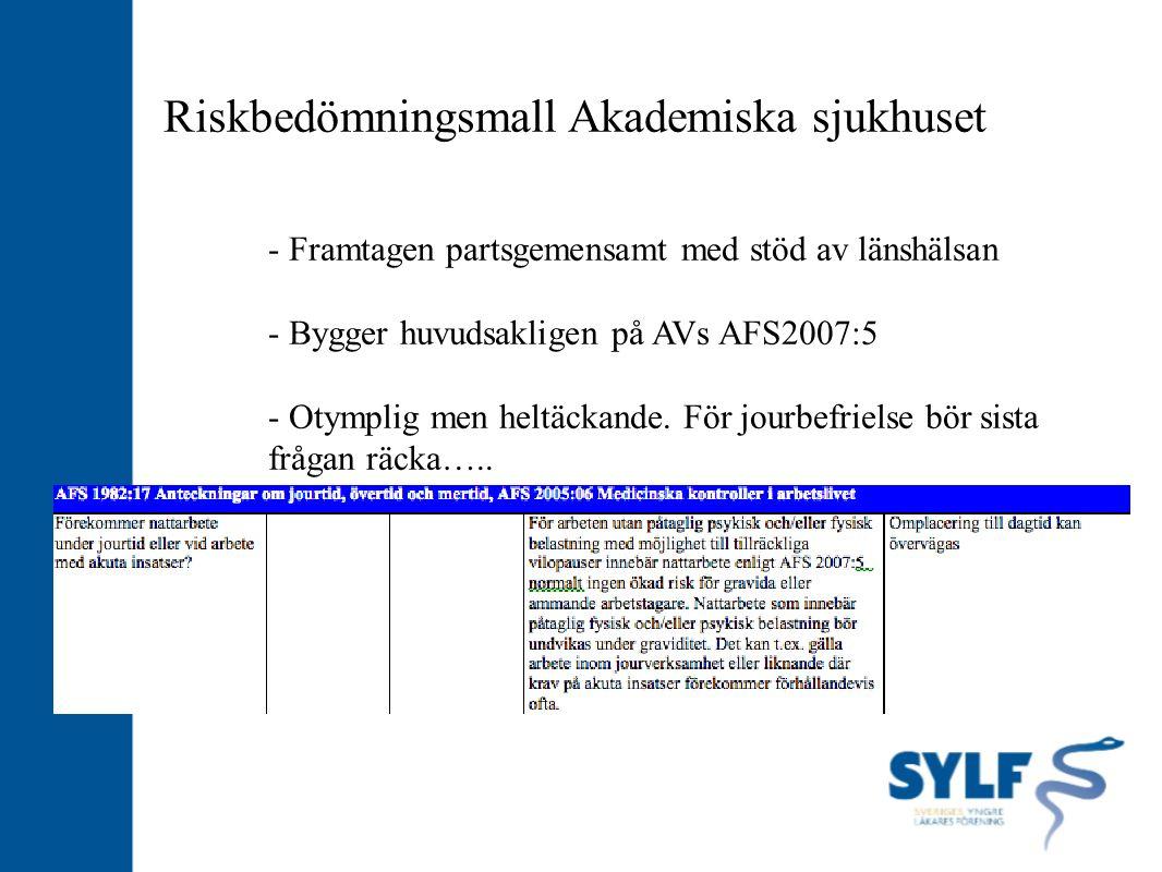 Riskbedömningsmall Akademiska sjukhuset - Framtagen partsgemensamt med stöd av länshälsan - Bygger huvudsakligen på AVs AFS2007:5 - Otymplig men heltä