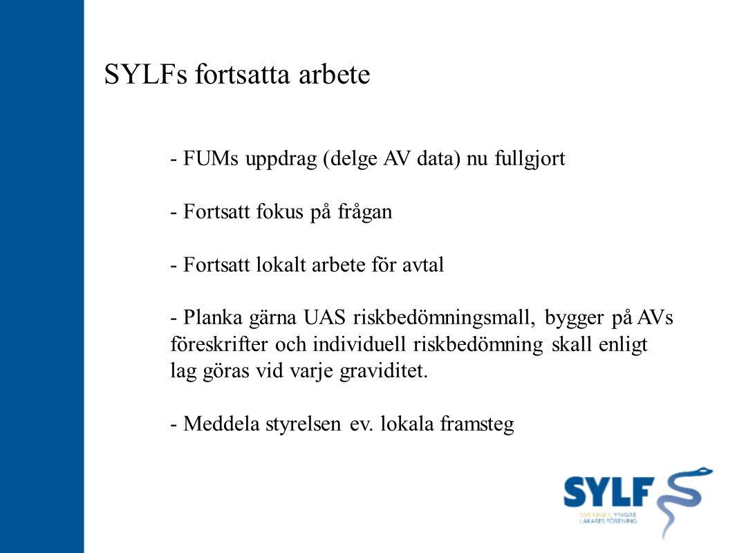 SYLFs fortsatta arbete - FUMs uppdrag (delge AV data) nu fullgjort - Fortsatt fokus på frågan - Fortsatt lokalt arbete för avtal - Planka gärna UAS ri