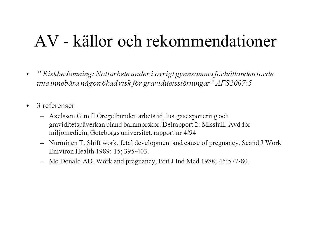 """AV - källor och rekommendationer """" Riskbedömning: Nattarbete under i övrigt gynnsamma förhållanden torde inte innebära någon ökad risk för graviditets"""