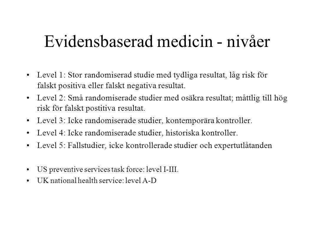 Evidensbaserad medicin - nivåer Level 1: Stor randomiserad studie med tydliga resultat, låg risk för falskt positiva eller falskt negativa resultat. L