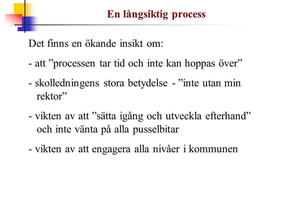 """En långsiktig process Det finns en ökande insikt om: - att """"processen tar tid och inte kan hoppas över"""" - skolledningens stora betydelse - """"inte utan"""