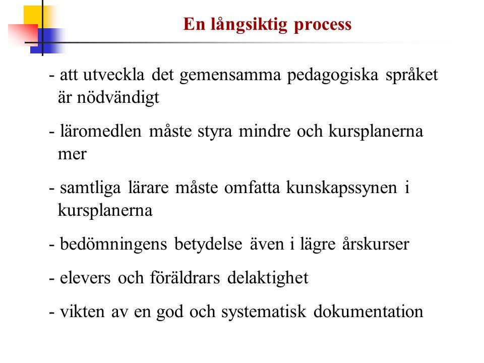 En långsiktig process - att utveckla det gemensamma pedagogiska språket är nödvändigt - läromedlen måste styra mindre och kursplanerna mer - samtliga