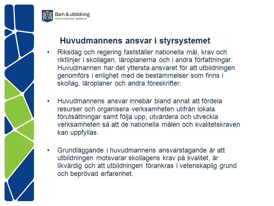 Huvudmannens ansvar i styrsystemet Riksdag och regering fastställer nationella mål, krav och riktlinjer i skollagen, läroplanerna och i andra författningar.