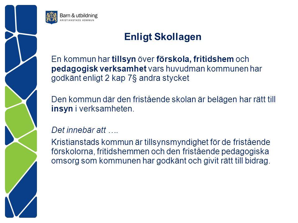 Enligt Skollagen En kommun har tillsyn över förskola, fritidshem och pedagogisk verksamhet vars huvudman kommunen har godkänt enligt 2 kap 7§ andra stycket Den kommun där den fristående skolan är belägen har rätt till insyn i verksamheten.