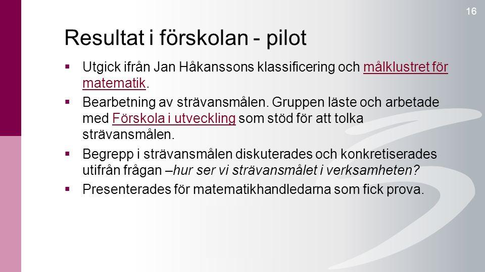 Resultat i förskolan - pilot 16  Utgick ifrån Jan Håkanssons klassificering och målklustret för matematik.målklustret för matematik  Bearbetning av