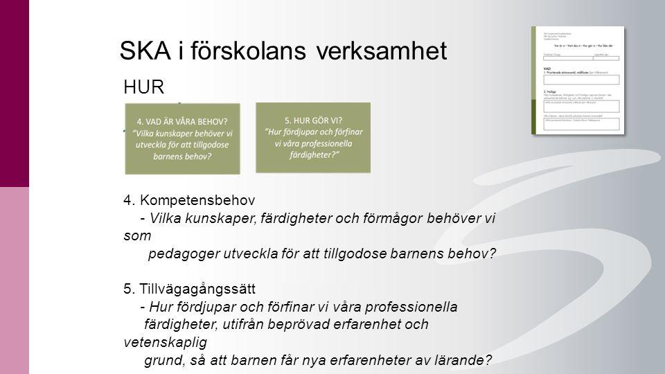 SKA i förskolans verksamhet HUR 4. Kompetensbehov - Vilka kunskaper, färdigheter och förmågor behöver vi som pedagoger utveckla för att tillgodose bar