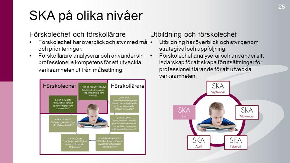 SKA på olika nivåer 25 Förskolechef och förskollärare Förskolechef har överblick och styr med mål och prioriteringar. Förskollärare analyserar och anv
