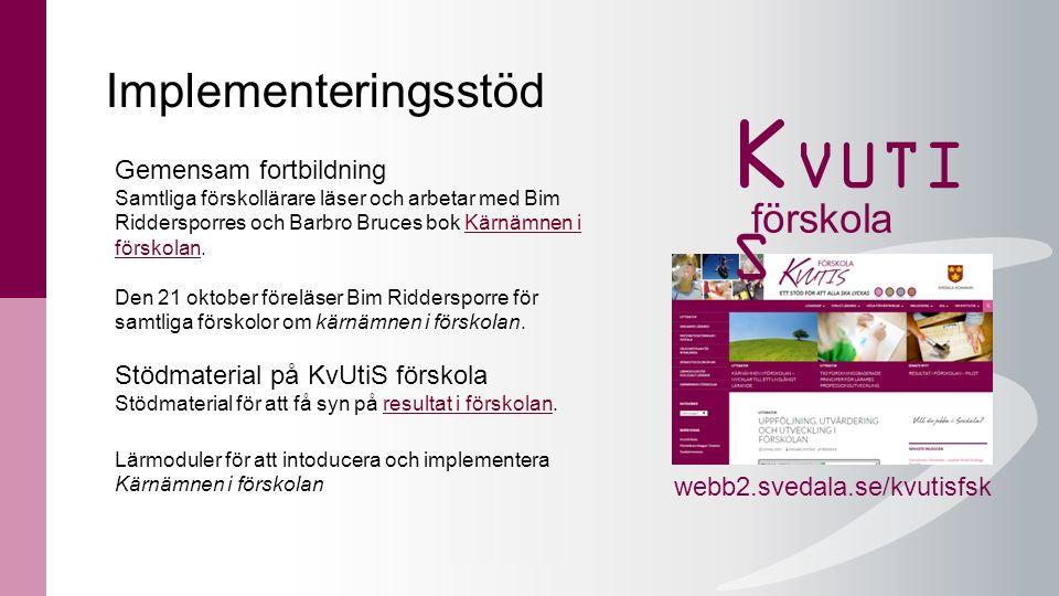 Implementeringsstöd webb2.svedala.se/kvutisfsk Gemensam fortbildning Samtliga förskollärare läser och arbetar med Bim Riddersporres och Barbro Bruces