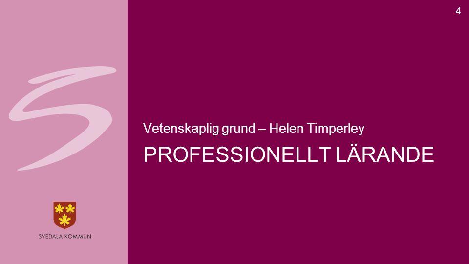 PROFESSIONELLT LÄRANDE Vetenskaplig grund – Helen Timperley 4