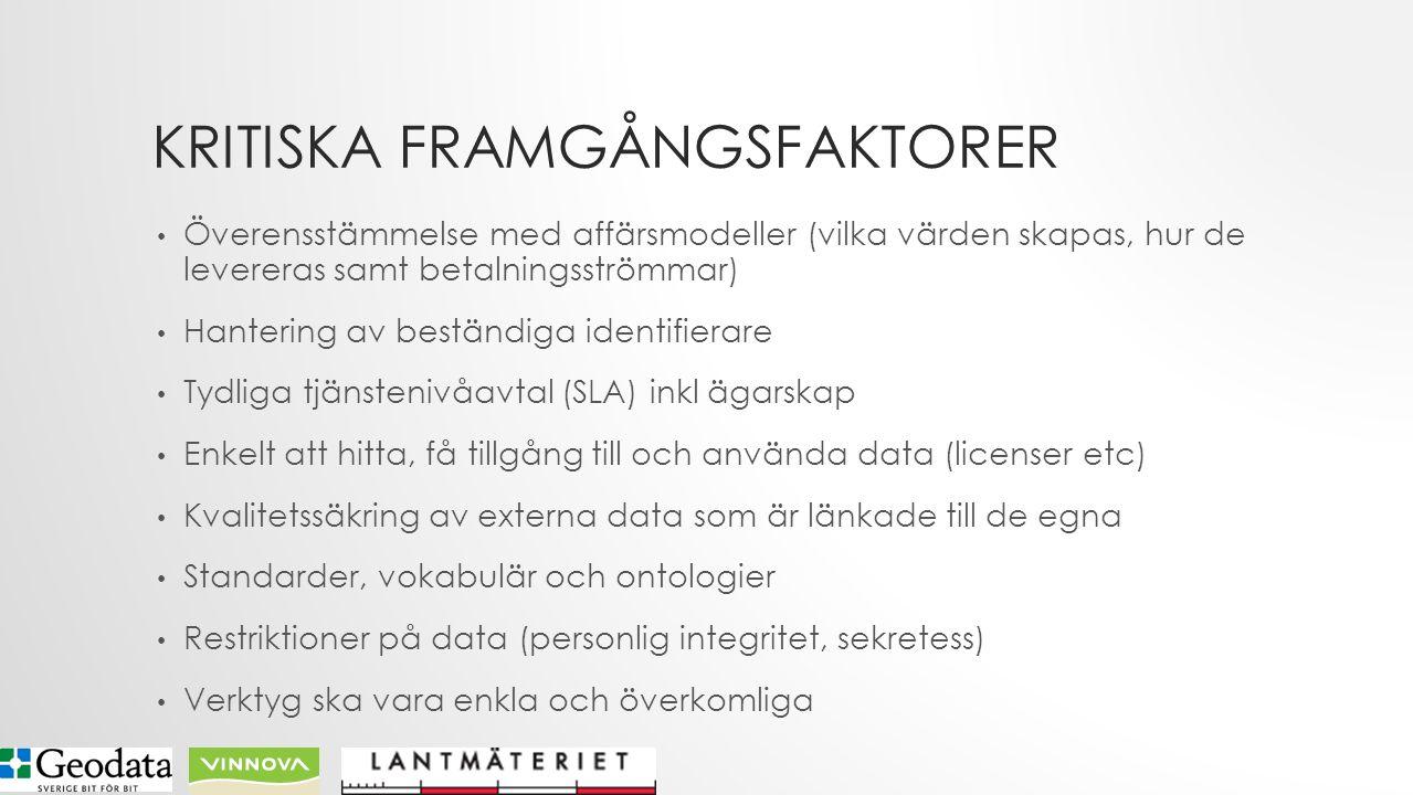 KRITISKA FRAMGÅNGSFAKTORER Överensstämmelse med affärsmodeller (vilka värden skapas, hur de levereras samt betalningsströmmar) Hantering av beständiga identifierare Tydliga tjänstenivåavtal (SLA) inkl ägarskap Enkelt att hitta, få tillgång till och använda data (licenser etc) Kvalitetssäkring av externa data som är länkade till de egna Standarder, vokabulär och ontologier Restriktioner på data (personlig integritet, sekretess) Verktyg ska vara enkla och överkomliga
