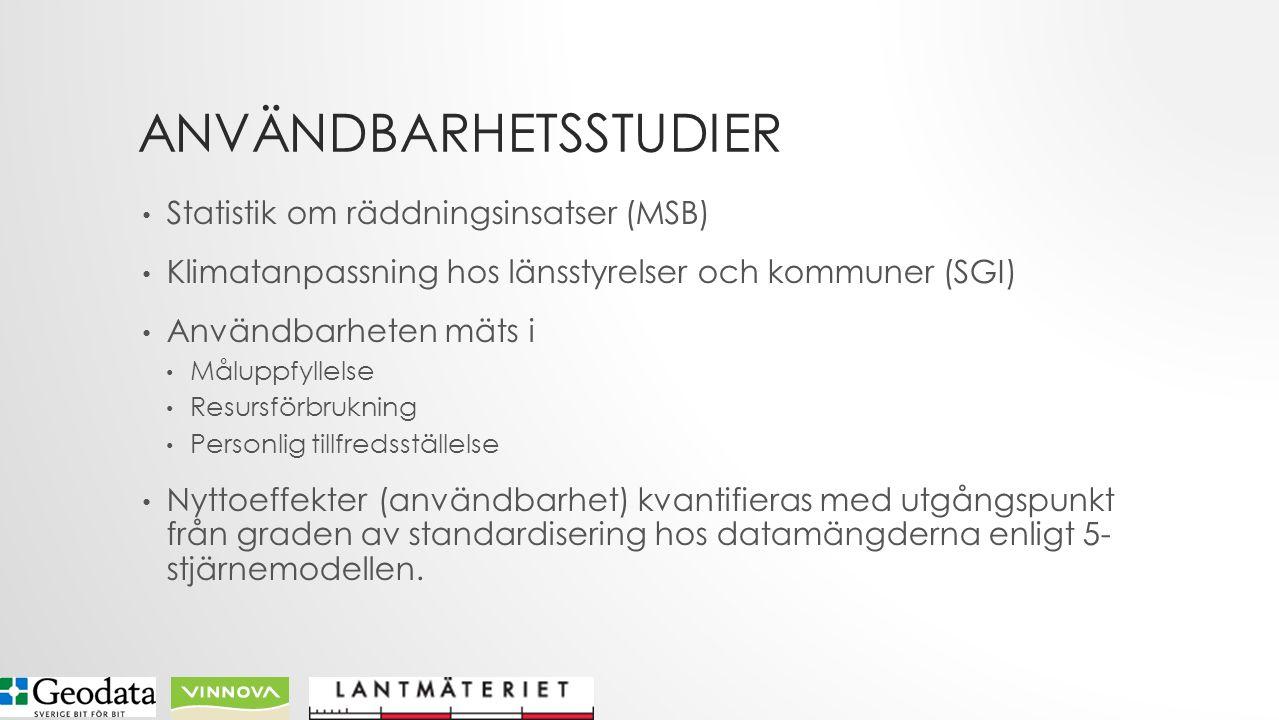 ANVÄNDBARHETSSTUDIER Statistik om räddningsinsatser (MSB) Klimatanpassning hos länsstyrelser och kommuner (SGI) Användbarheten mäts i Måluppfyllelse Resursförbrukning Personlig tillfredsställelse Nyttoeffekter (användbarhet) kvantifieras med utgångspunkt från graden av standardisering hos datamängderna enligt 5- stjärnemodellen.