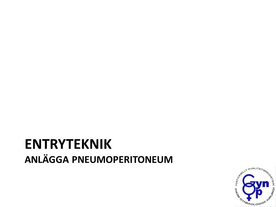 Entryteknik I Sverige används vanligen entry med sluten (verres) eller öppen teknik Finns inga klara bevis som säger att det ena är bättre än det andra I Cochrane´s senaste översikt visar man en fördel med öppen jmf sluten teknik avseende misslyckade entry Direkt troakarinsättning minst misslyckade entry Ahmad G, Laparoscopic entry techniques, The Cochrane Library, 2012