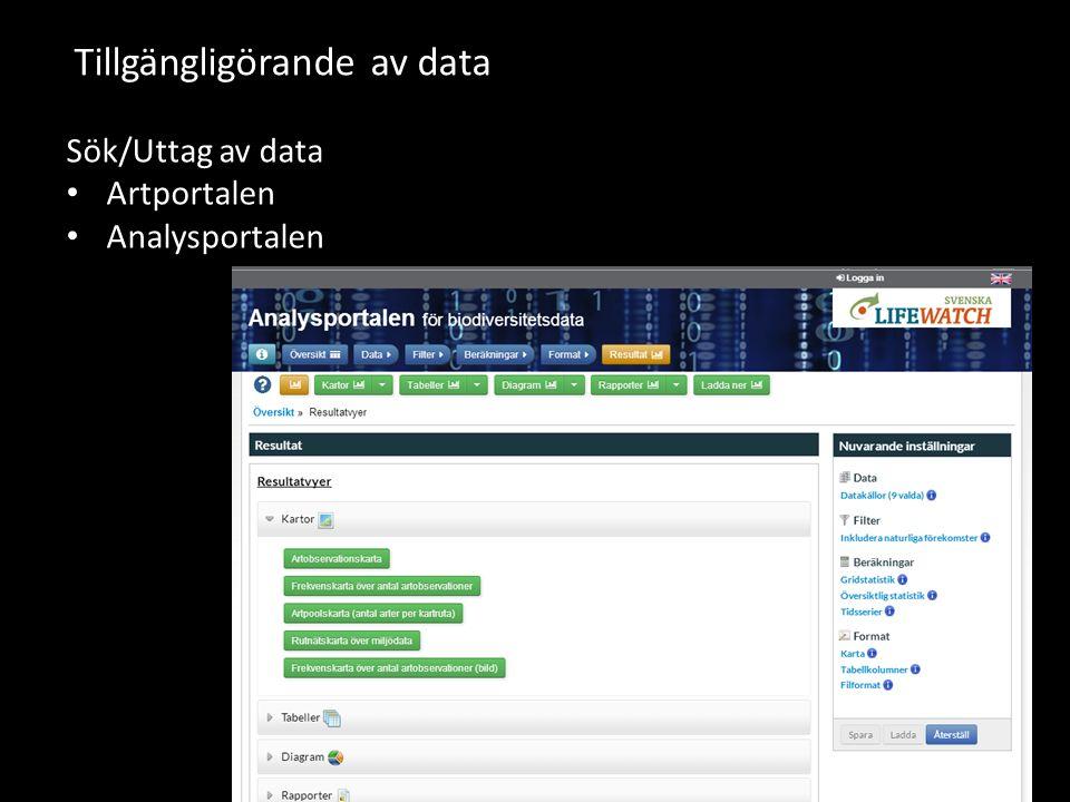 Tillgängligörande av data Sök/Uttag av data Artportalen Analysportalen