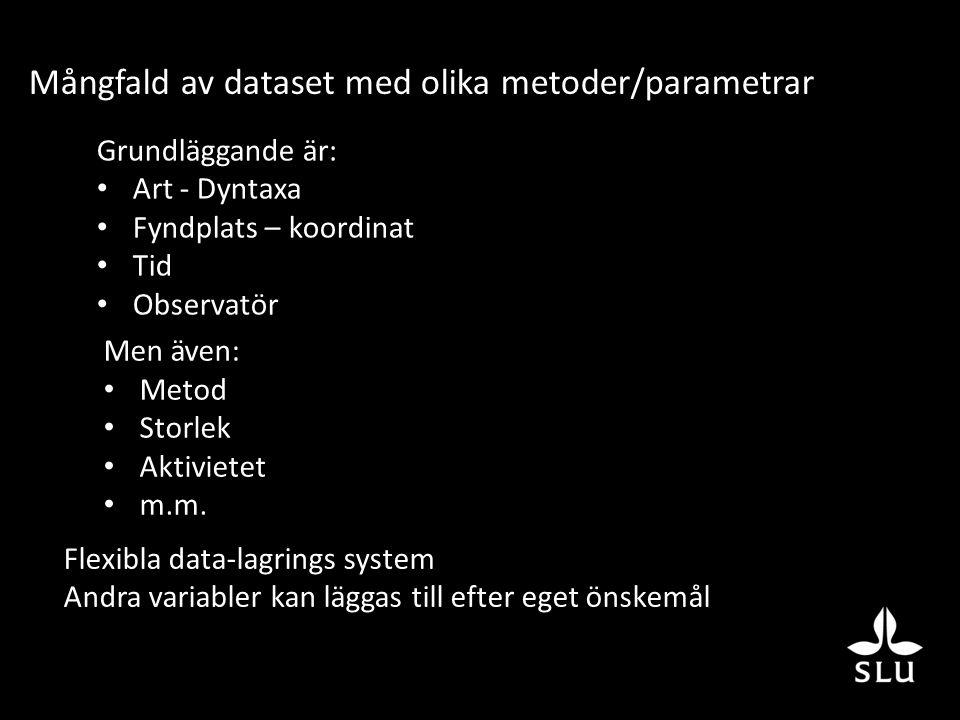 Mångfald av dataset med olika metoder/parametrar Grundläggande är: Art - Dyntaxa Fyndplats – koordinat Tid Observatör Men även: Metod Storlek Aktivietet m.m.