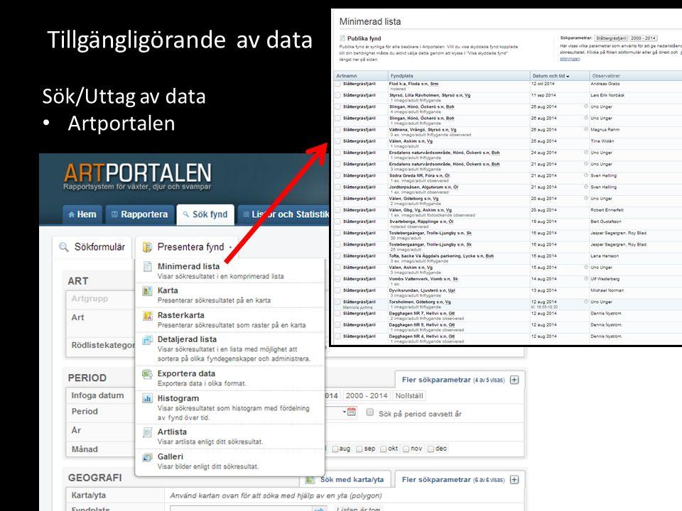 Tillgängligörande av data Sök/Uttag av data Artportalen