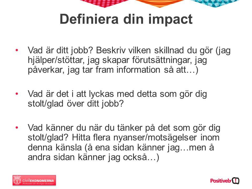 Definiera din impact Vad är ditt jobb.