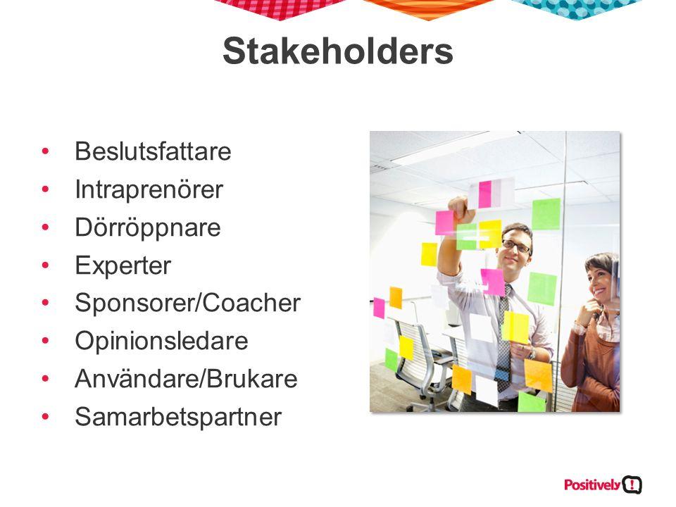 Stakeholders Beslutsfattare Intraprenörer Dörröppnare Experter Sponsorer/Coacher Opinionsledare Användare/Brukare Samarbetspartner