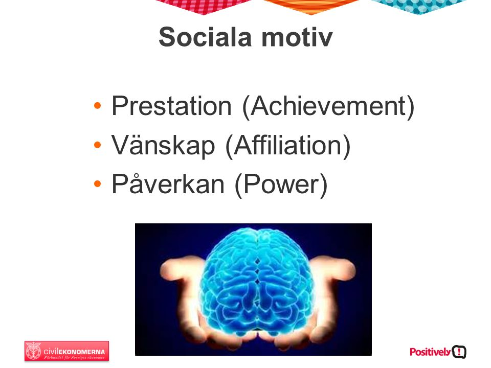 Sociala motiv Prestation (Achievement) Vänskap (Affiliation) Påverkan (Power)