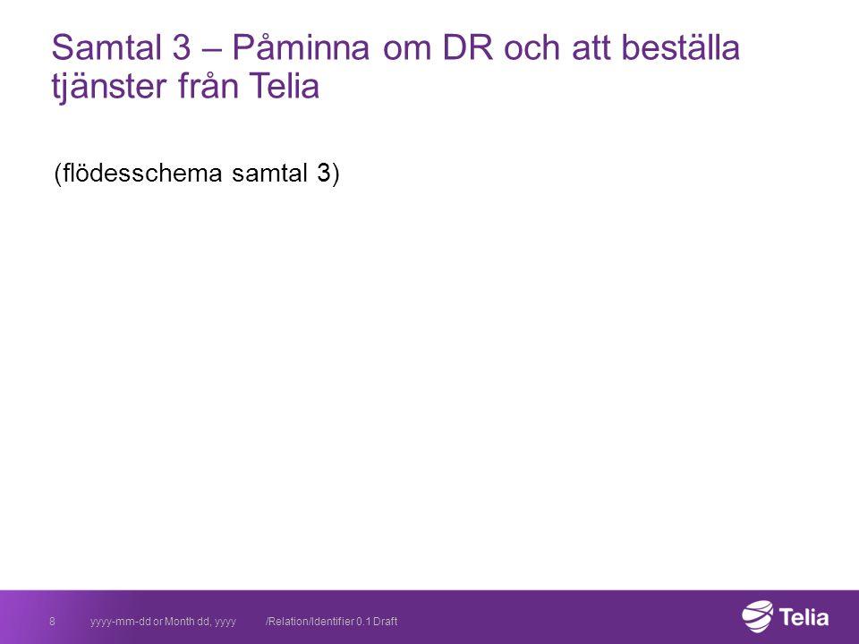 Samtal 3 – Påminna om DR och att beställa tjänster från Telia (flödesschema samtal 3) yyyy-mm-dd or Month dd, yyyy /Relation/Identifier 0.1 Draft8