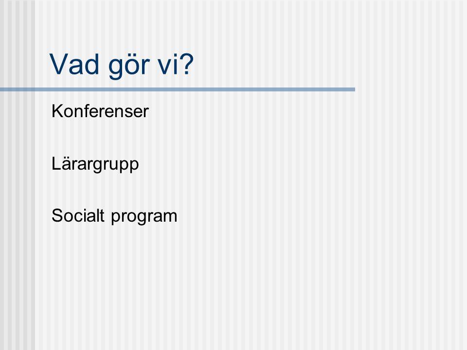 Vad gör vi? Konferenser Lärargrupp Socialt program