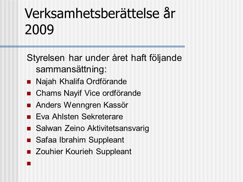 Styrelsen har under året haft följande sammansättning: Najah Khalifa Ordförande Chams Nayif Vice ordförande Anders Wenngren Kassör Eva Ahlsten Sekrete