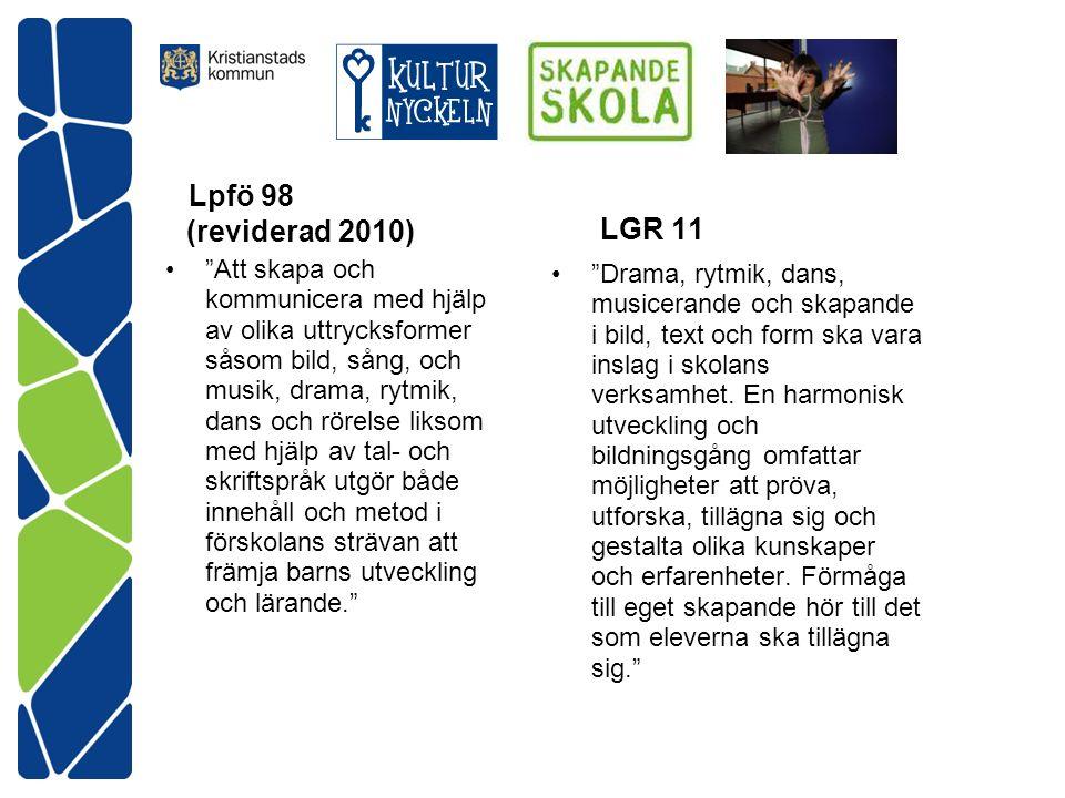 Lpfö 98 (reviderad 2010) Att skapa och kommunicera med hjälp av olika uttrycksformer såsom bild, sång, och musik, drama, rytmik, dans och rörelse liksom med hjälp av tal- och skriftspråk utgör både innehåll och metod i förskolans strävan att främja barns utveckling och lärande. LGR 11 Drama, rytmik, dans, musicerande och skapande i bild, text och form ska vara inslag i skolans verksamhet.