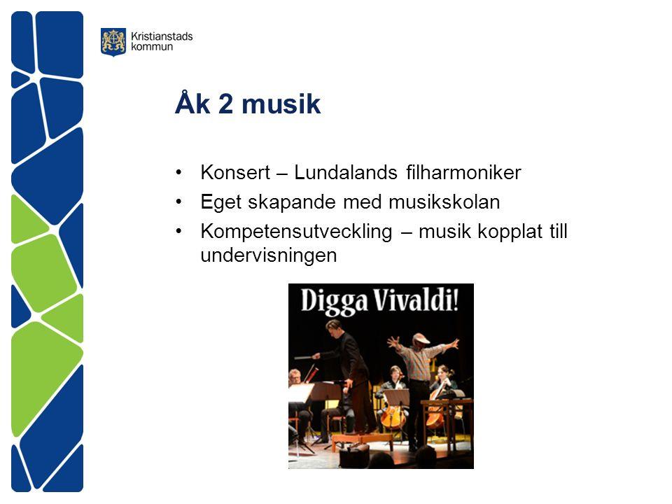Åk 2 musik Konsert – Lundalands filharmoniker Eget skapande med musikskolan Kompetensutveckling – musik kopplat till undervisningen
