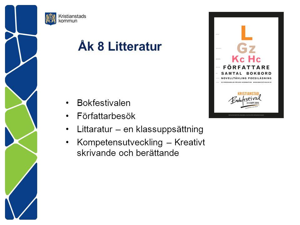 Åk 8 Litteratur Bokfestivalen Författarbesök Littaratur – en klassuppsättning Kompetensutveckling – Kreativt skrivande och berättande