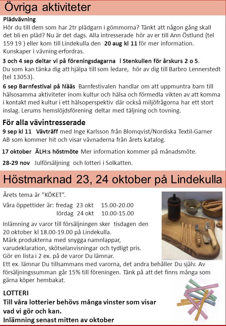 Övriga aktiviteter 28-29 nov Julförsäljning och lotteri i Solkatten.