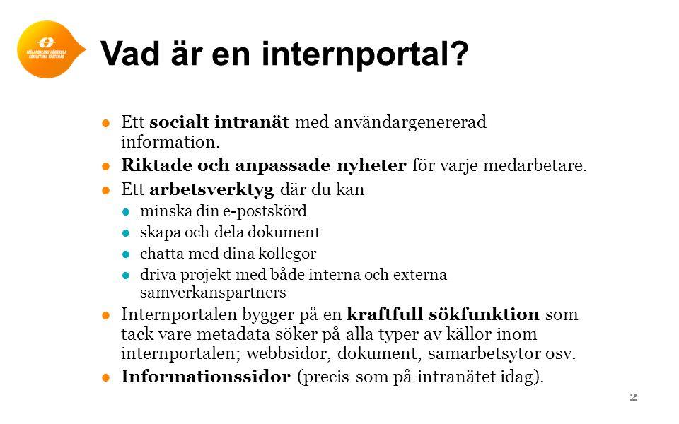 Vad är en internportal? ●Ett socialt intranät med användargenererad information. ●Riktade och anpassade nyheter för varje medarbetare. ●Ett arbetsverk