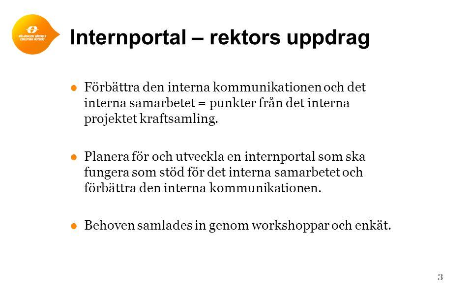 Internportal – rektors uppdrag ●Förbättra den interna kommunikationen och det interna samarbetet = punkter från det interna projektet kraftsamling. ●P
