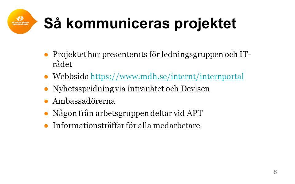 Så kommuniceras projektet ●Projektet har presenterats för ledningsgruppen och IT- rådet ●Webbsida https://www.mdh.se/internt/internportalhttps://www.m