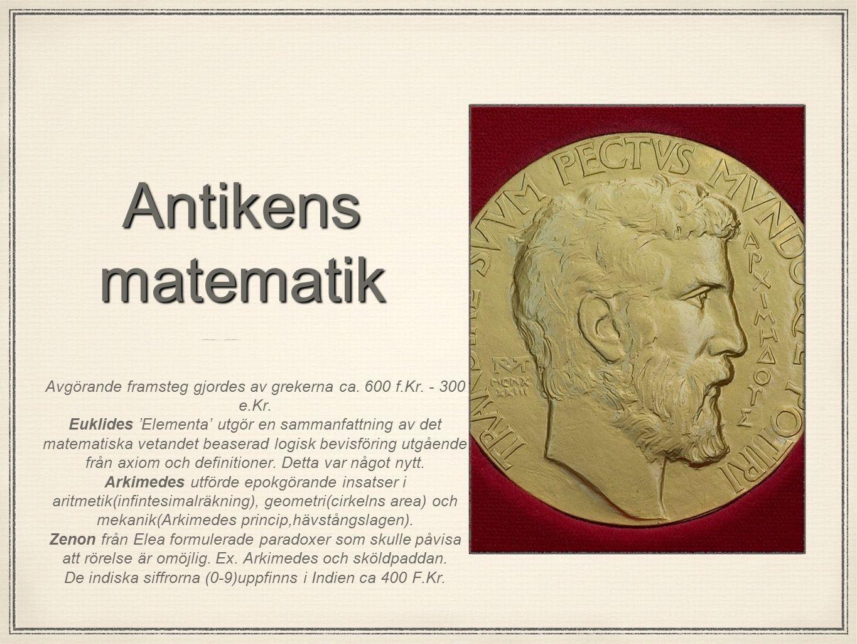 Medeltidens matematik Den persiske matematikern al-Khwarizmi utvecklar kring 800 e.Kr.