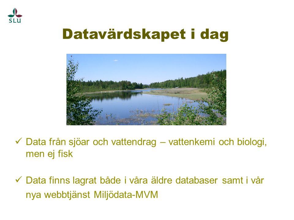 Datavärdskapet i dag Data från sjöar och vattendrag – vattenkemi och biologi, men ej fisk Data finns lagrat både i våra äldre databaser samt i vår nya webbtjänst Miljödata-MVM