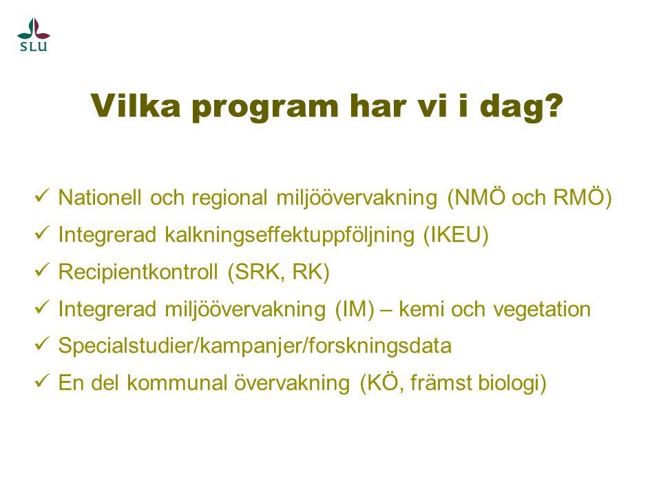 Vilka program har vi i dag? Nationell och regional miljöövervakning (NMÖ och RMÖ) Integrerad kalkningseffektuppföljning (IKEU) Recipientkontroll (SRK,