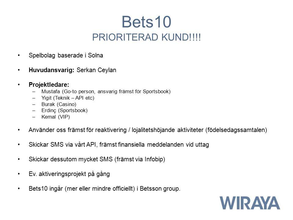 Bets10 PRIORITERAD KUND!!!! Spelbolag baserade i Solna Huvudansvarig: Serkan Ceylan Projektledare: –Mustafa (Go-to person, ansvarig främst för Sportsb