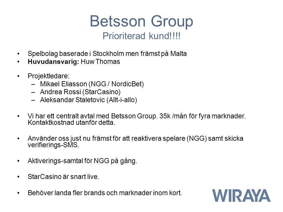 Betsson Group Prioriterad kund!!!! Spelbolag baserade i Stockholm men främst på Malta Huvudansvarig: Huw Thomas Projektledare: –Mikael Eliasson (NGG /