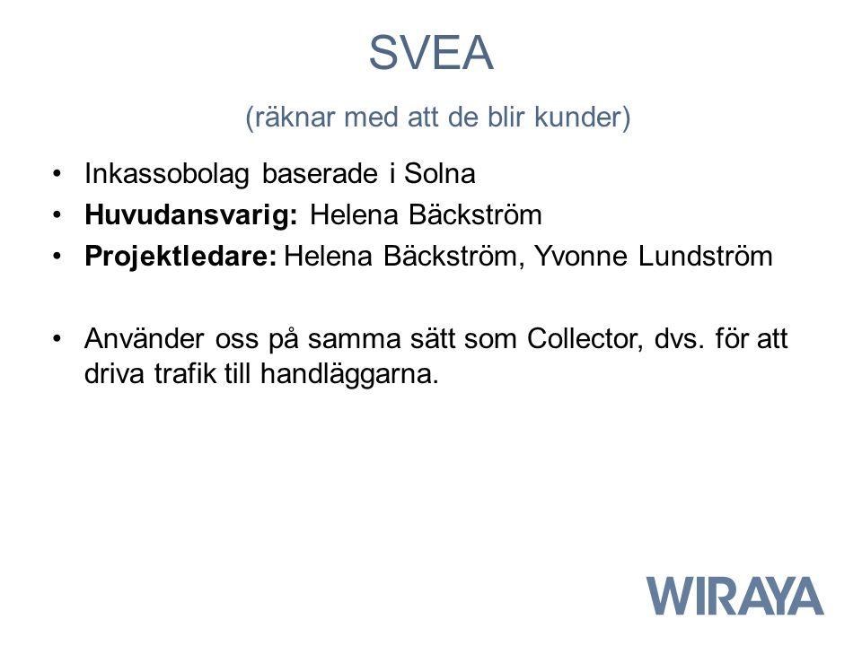 SVEA (räknar med att de blir kunder) Inkassobolag baserade i Solna Huvudansvarig: Helena Bäckström Projektledare: Helena Bäckström, Yvonne Lundström Använder oss på samma sätt som Collector, dvs.